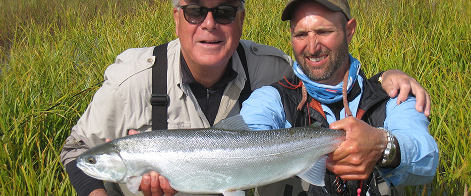 hook chum salmon with guided fly fishing in Alaska
